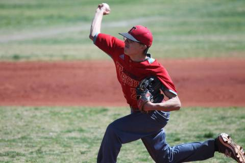 Southeast Career Tech's Matt Martinolich (2) pitches against Chaparral during the Cowb ...