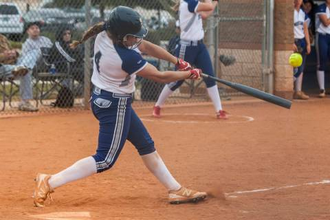 Shadow Ridge's Shea Clements bats against Shadow Ridge during the fourth inning at Sha ...