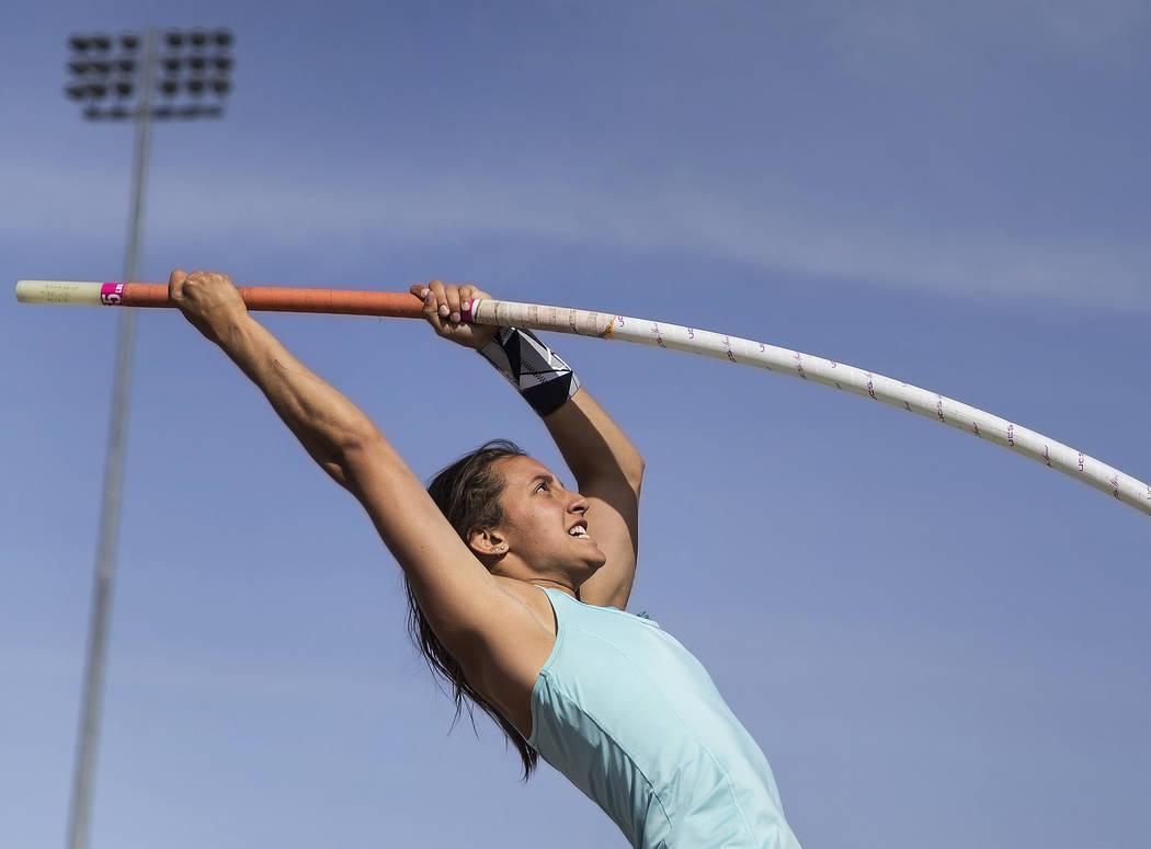 Gabby Carson, one of Nevada's top prep pole vaulters, makes an attempt during practice ...