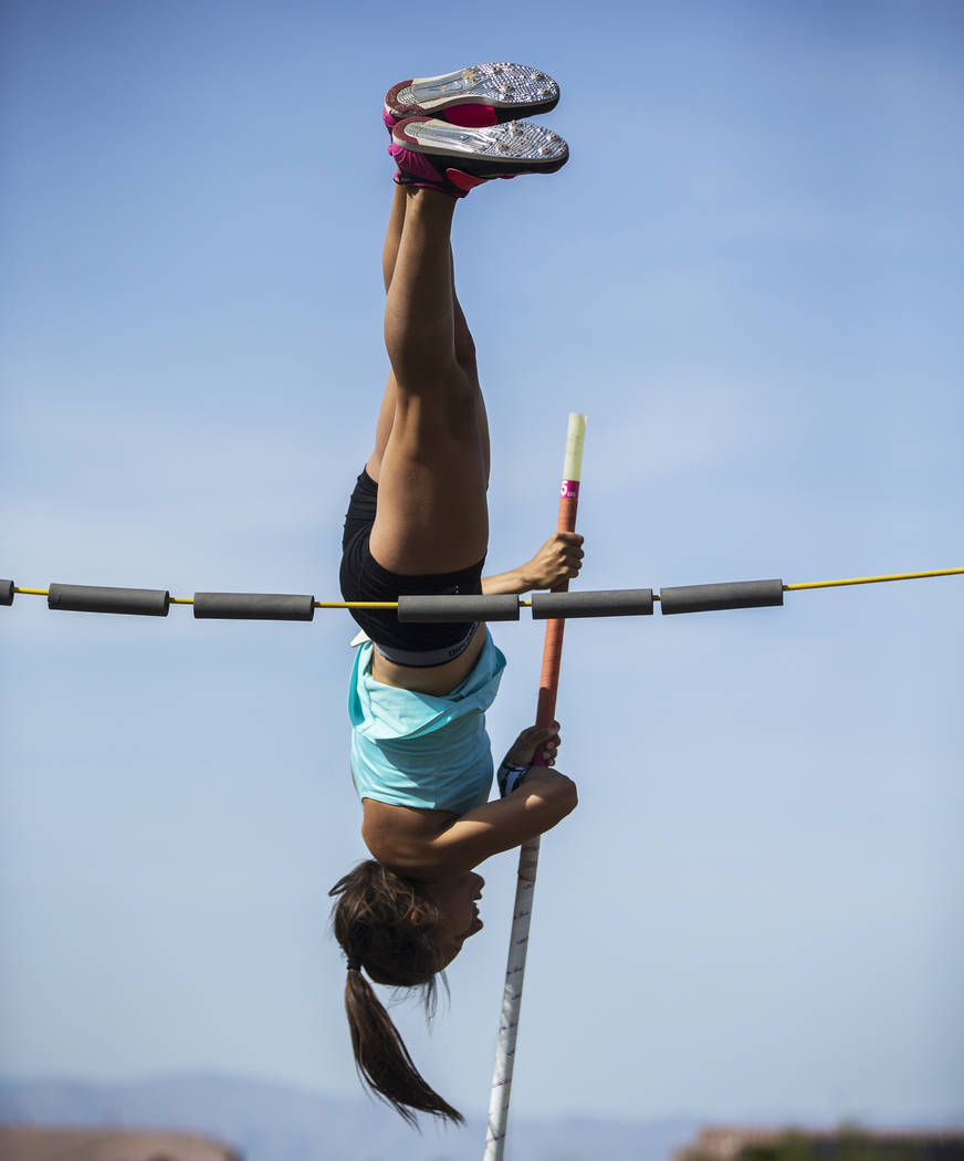 Gabby Carson, one of Nevada's top prep pole vaulters, practices on Monday, April 9, 2 ...