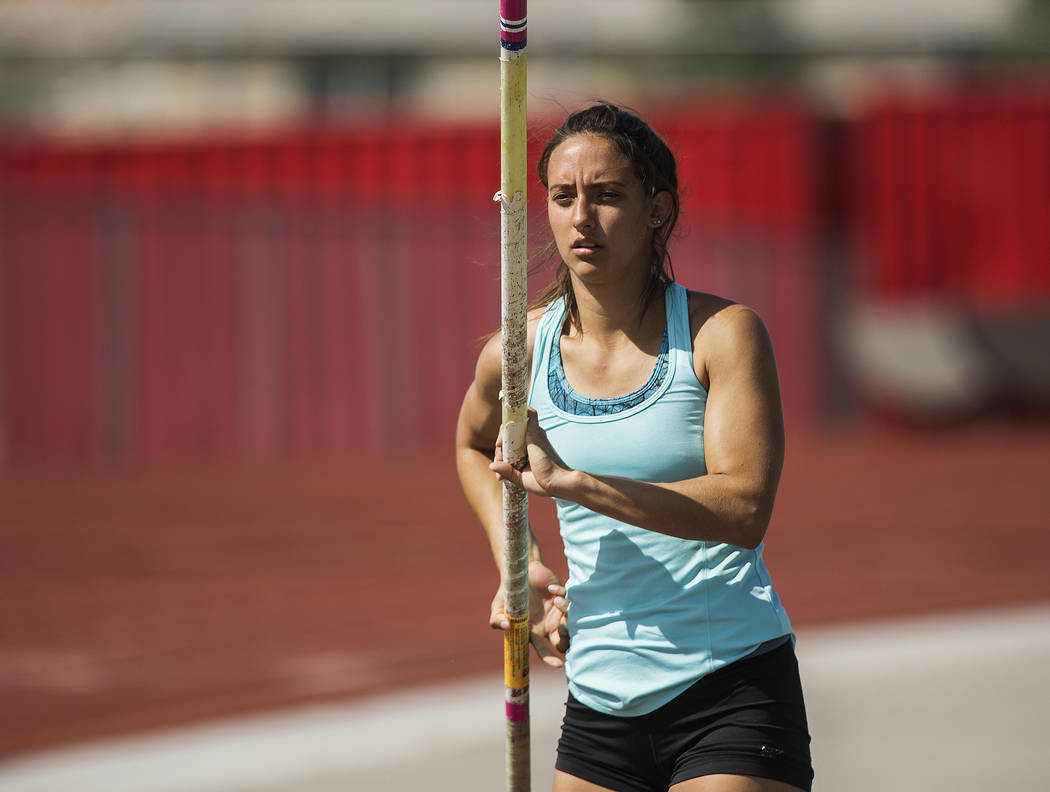 Gabby Carson, one of Nevada's top prep pole vaulters, starts her approach during pract ...