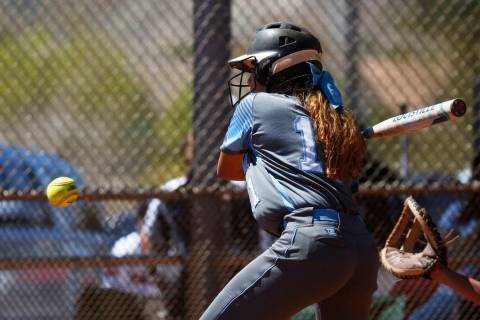 Centennial's Jacqueline Perez Mena (11) bats against North High School in the first in ...