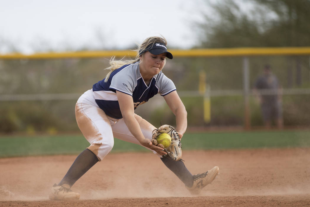 Shadow Ridge's Mia Voges (15) catches a ground ball before throwing it for an out at f ...