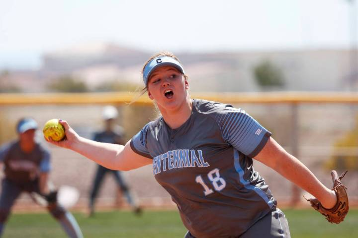 Centennial's pitcher Amanda Sink (18) pitches against North High School in the first i ...