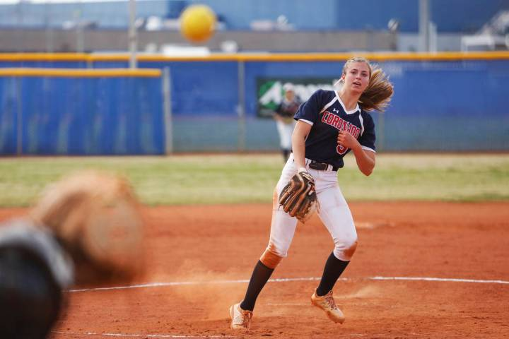 Coronado's pitcher Tatum Spangler (5) pitches against Basic at Basic High School in He ...