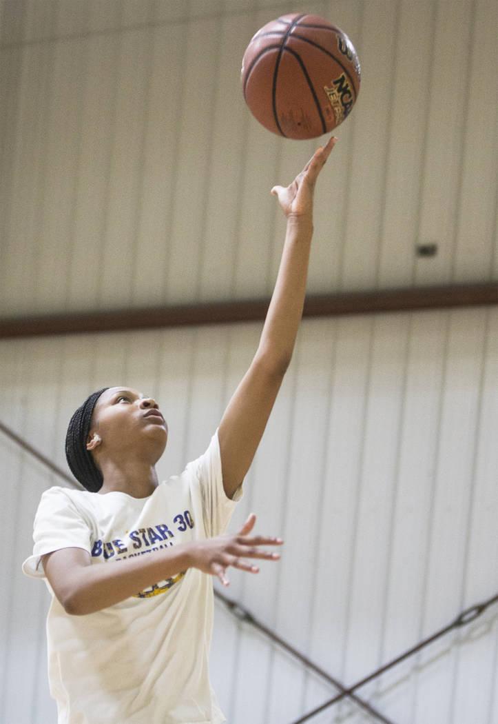 Centennial High School freshman point guard Taylor Bigby works out at Tarkanian Basketball A ...