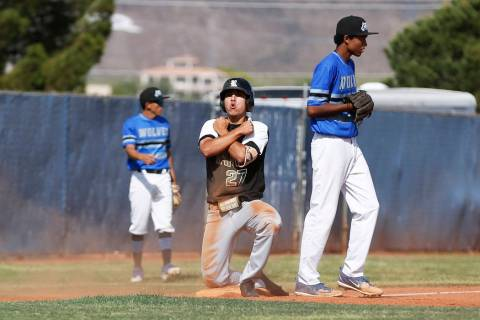 Rancho's centerfielder Anthony Guzman (27) reacts after hitting a triple against Basic ...