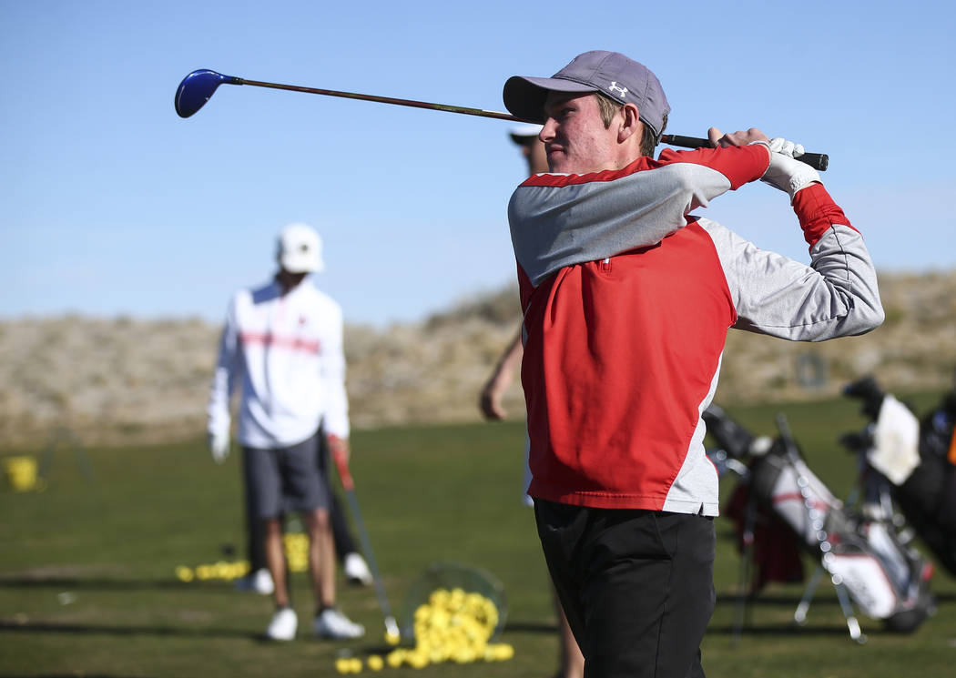 Arbor View's Cameron Gambini at the driving range during practice at the Paiute Golf R ...