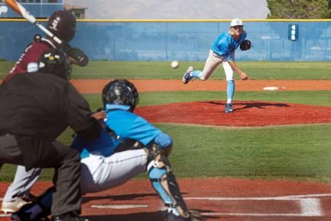Centennial High School's Nik Dobar (2) pitches the ball in a game against Cimarron-Mem ...