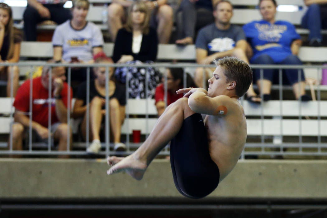 Conner Wattles, of Palo Verde High School, competes in the Class 4A Sunset Region diving com ...