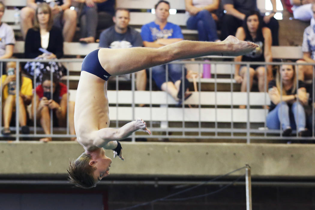 Timothy Newton, of Coronado High School, competes in the Class 4A Sunrise Region diving comp ...