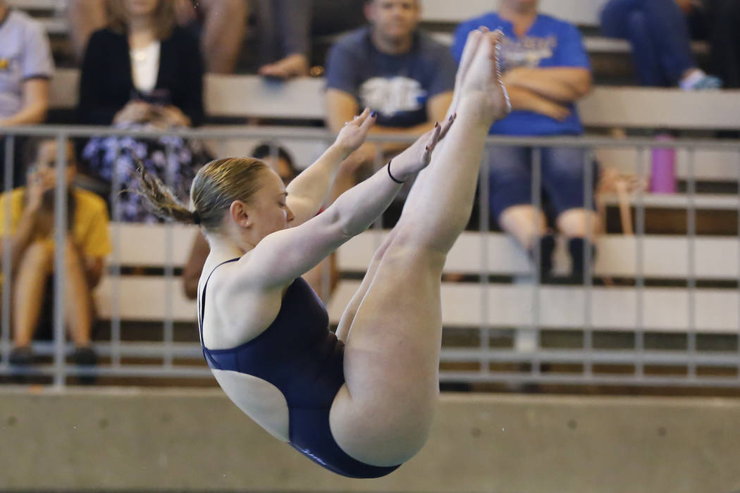 Alexis Edmonds, of Coronado High School, competes in the Class 4A Sunrise Region diving comp ...