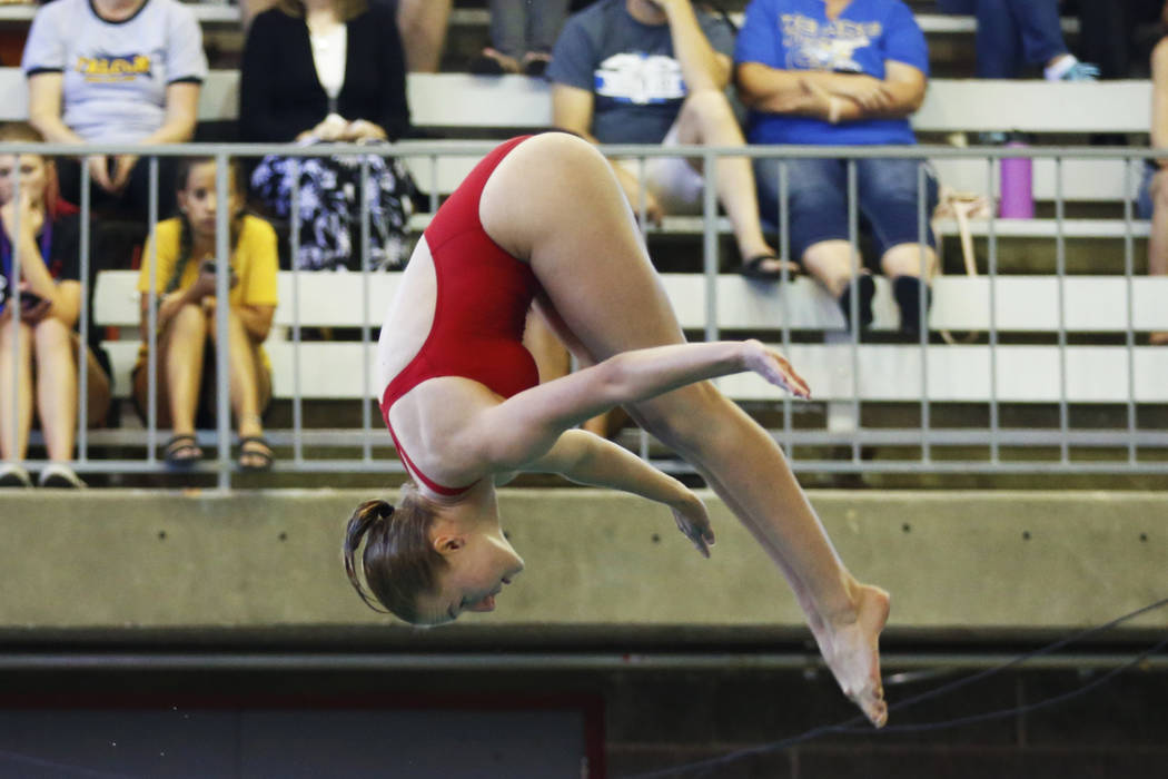 Elle Renner, of Tech, competes in the Class 3A Southern Region diving competition at UNLV&#8 ...