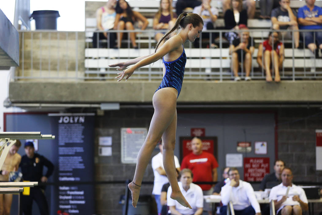 Taylor Moore, of Foothill High School, competes in the Class 4A Sunrise diving competition a ...