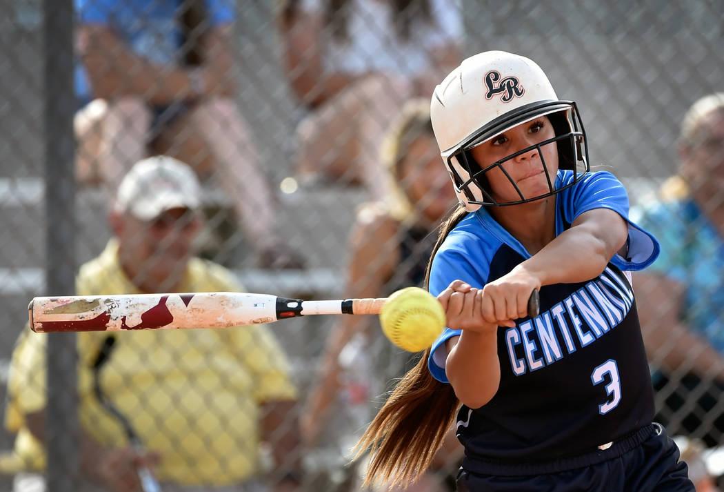 Centennial's Natasha Lawrence swings for the ball against Durango during a high school ...