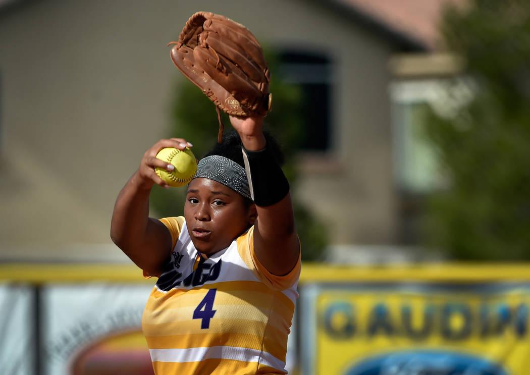 Durango pitcher Trinity Valentine winds up against Centennial during a high school softball ...