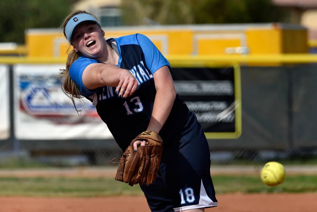 Centennial pitcher Amanda Sink fires the ball against Durango during a high school softball ...
