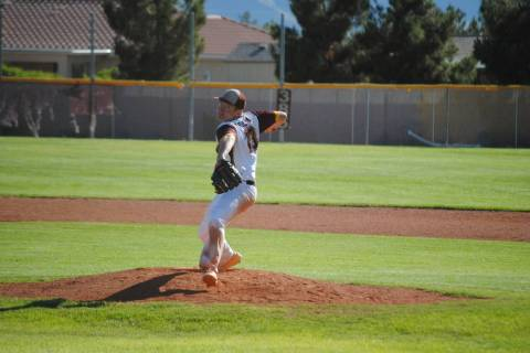 Pahrump Valley's Cyle Havel pitches in a 7-6 victory over Virgin Valley on Thursday, M ...