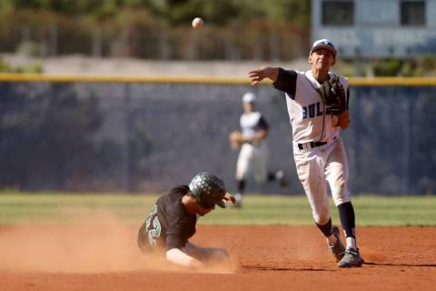 Centennial shortstop Rene Almarez (7) throws to first to turn a double play as Palo Verde&#8 ...