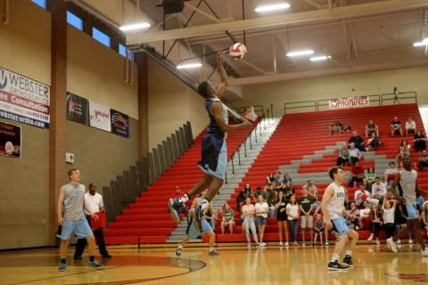 Centennial High School's Ferries Gardner (3) hits the ball against Palo Verde High Sc ...