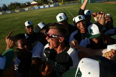 Rancho's Joey Walls, center, celebrates with teammates after defeating Coronado in the ...