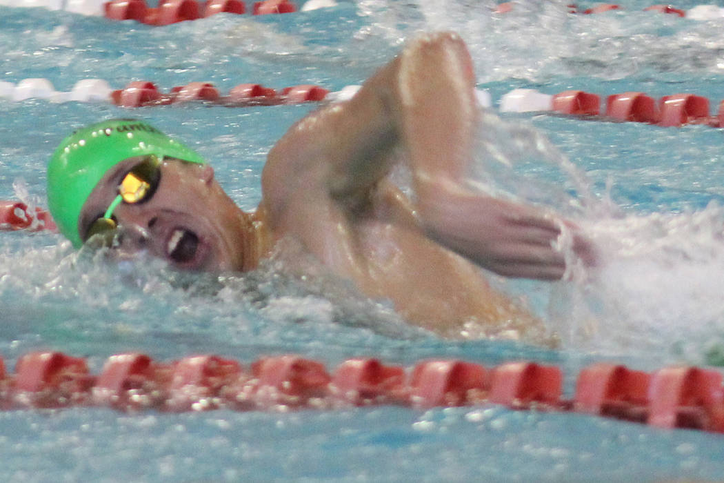 Palo Verde's Braeden Werwinski competes in the 200-yard freestlye at the Class 4A Suns ...