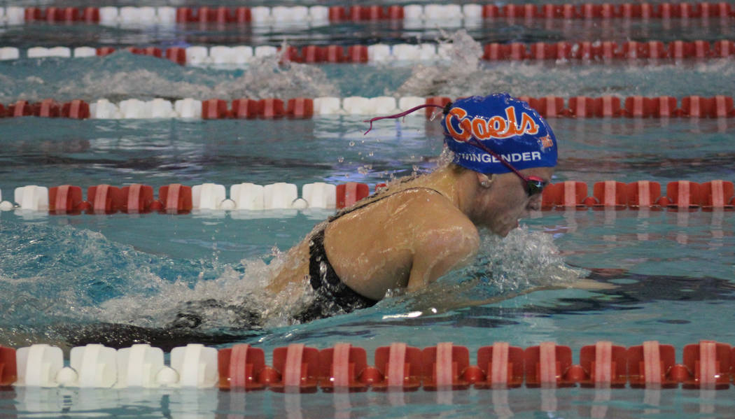 Bishop Gorman's Devyn Wingender competes in the 200-yard medley relay at the Class 4A ...