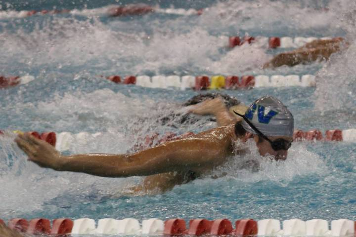 Green Valley's Andrew Navarro competes in the 100-yard butterfly at the Class 4A Sunri ...