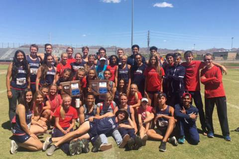 Coronado's boys and girls track teams pose with their Sunrise Region championship trop ...