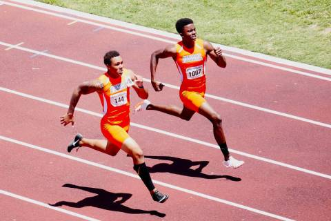 Bishop Gorman's Jalen Nailor and Kyu Kelly compete in the 200-meter dash at the Sunset ...