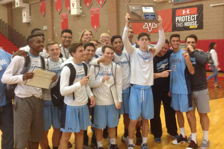 Centennial's boys volleyball team poses with the Class 4A Sunset Region championship t ...