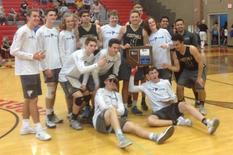 Foothill's boys volleyball team poses with the Class 4A Sunrise Region championship tr ...