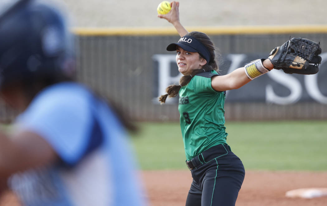 Palo Verde's Taylor Askland pitches against Centennial during a softball game at  ...