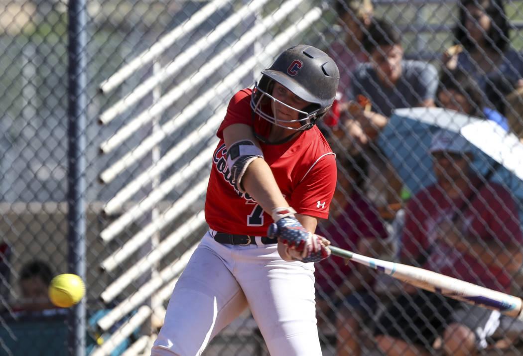 Coronado's Ashley Ward bats against Basic during a softball game at Coronado High Scho ...