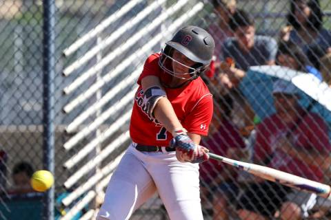 Coronado's Ashley Ward bats against Basic during a softball game at Coronado High Scho ...