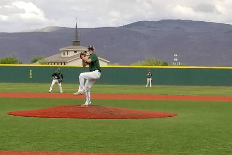 Palo Verde's Nick Zuppas throws a pitch against Bishop Manogue in the Class 4A state b ...