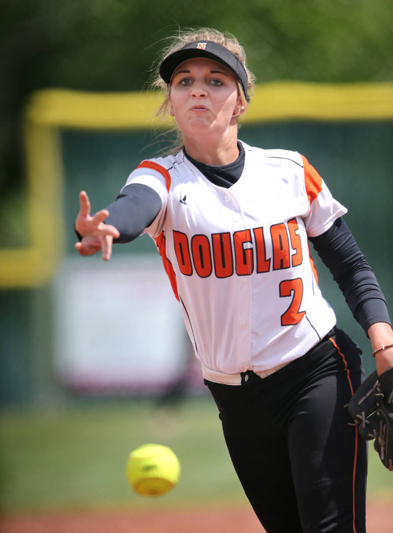 Amanda Hoffman pitches for the Douglas Tigers against the Basic Wolves in the NIAA 4A softba ...