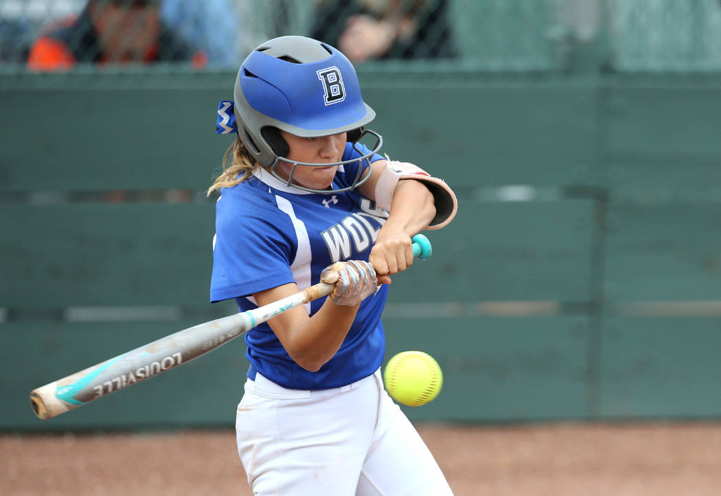 Basic Wolves' Isabelle Morales hits against the Douglas Tigers in the NIAA 4A softball ...