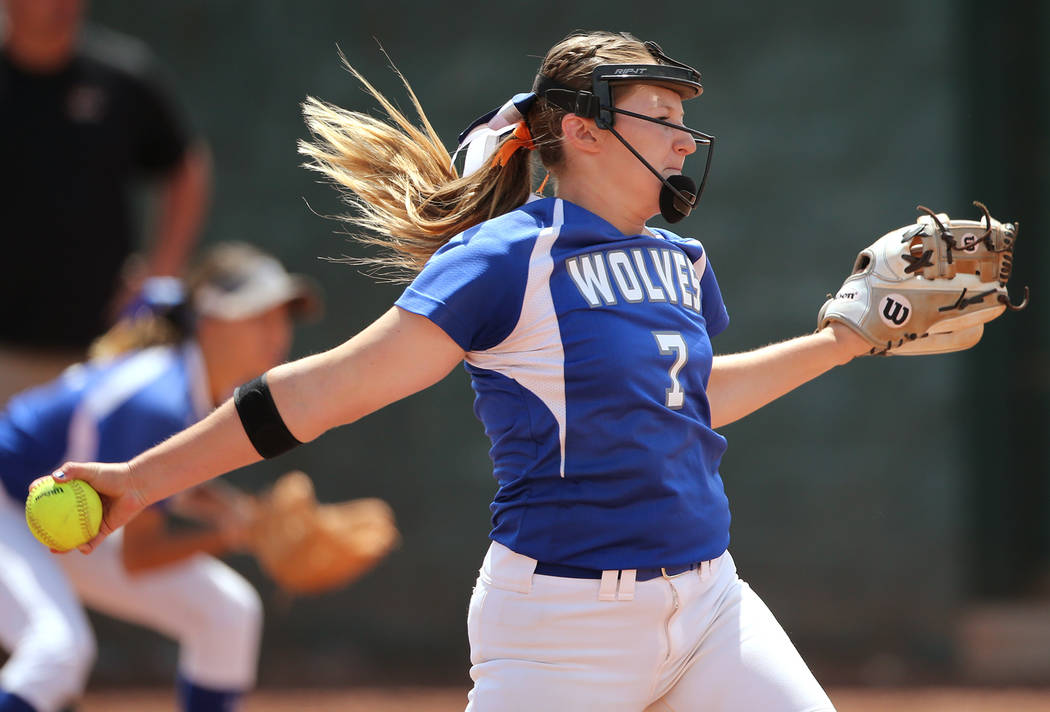 Basic Wolves' Shelby Basso pitches against the Douglas Tigers during the NIAA 4A softb ...