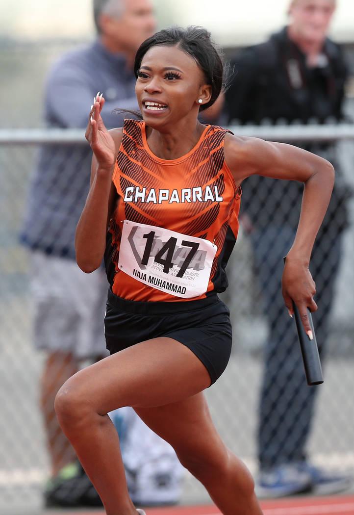 Chaparralճ Naja Muhammad runs the 3A 4×200 relay at the NIAA Track & Field Ch ...
