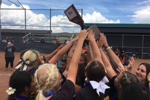 Pahranagat Valley's softball team celebrates winning the Class 1A state softball champ ...