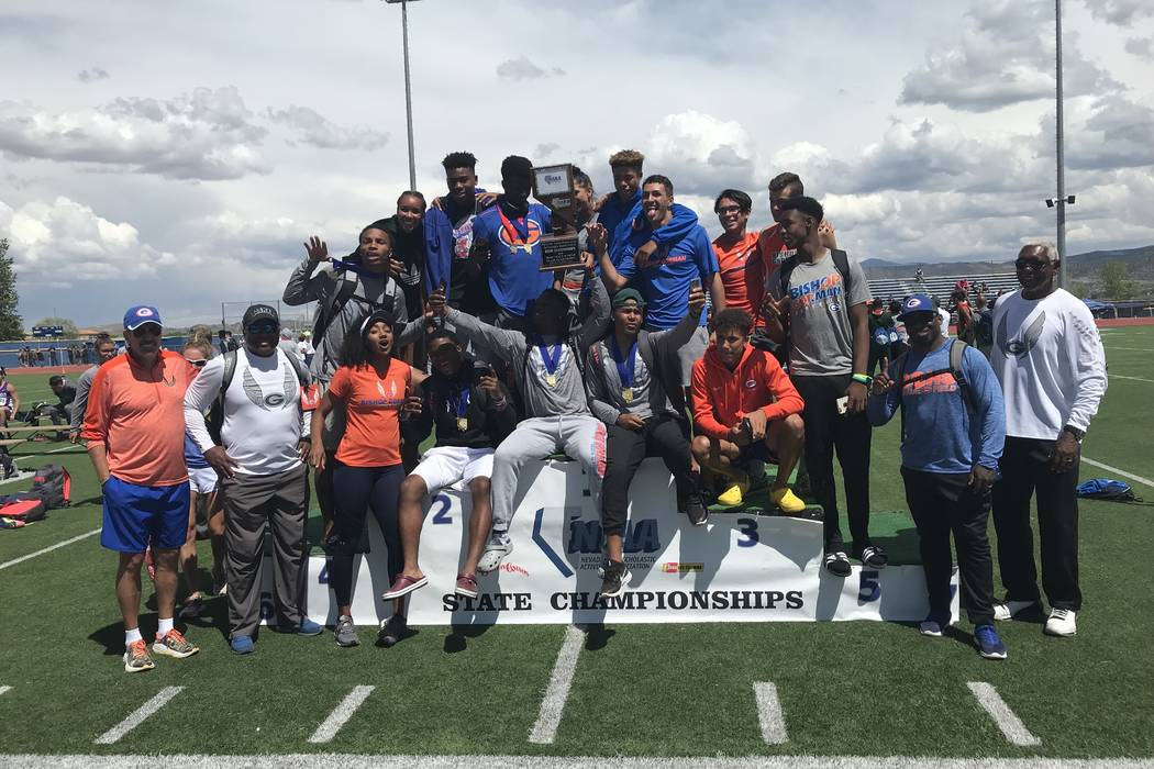 Bishop Gorman's boys track and field team poses with the Class 4A state championship t ...