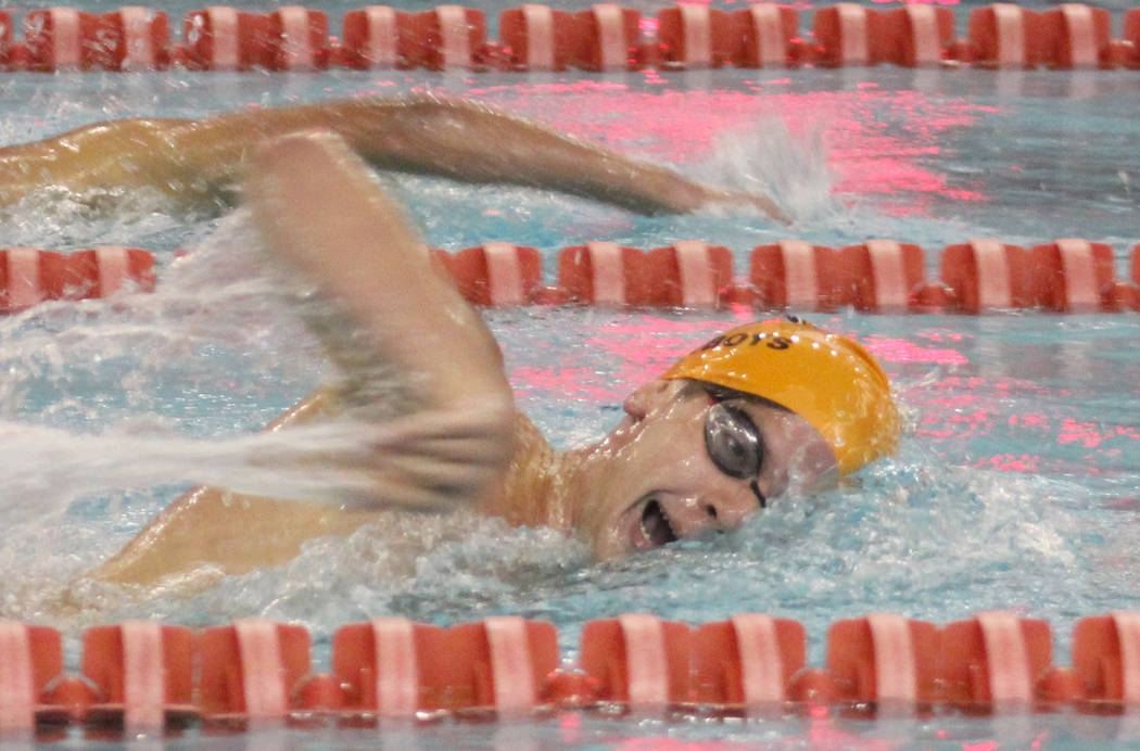 Chaparral's Adam Mirjanian competes in the 500 freestyle at the Class 3A state swimmin ...