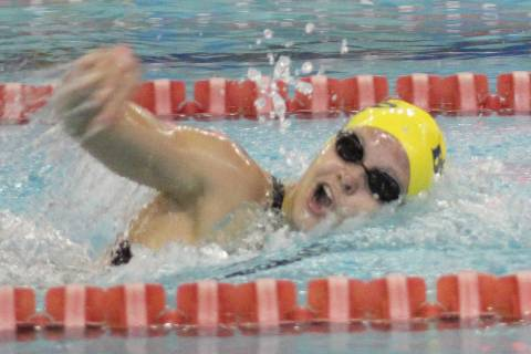 Boulder City's Rose Pouch competes in the 200 individual medley at the Class 3A state ...