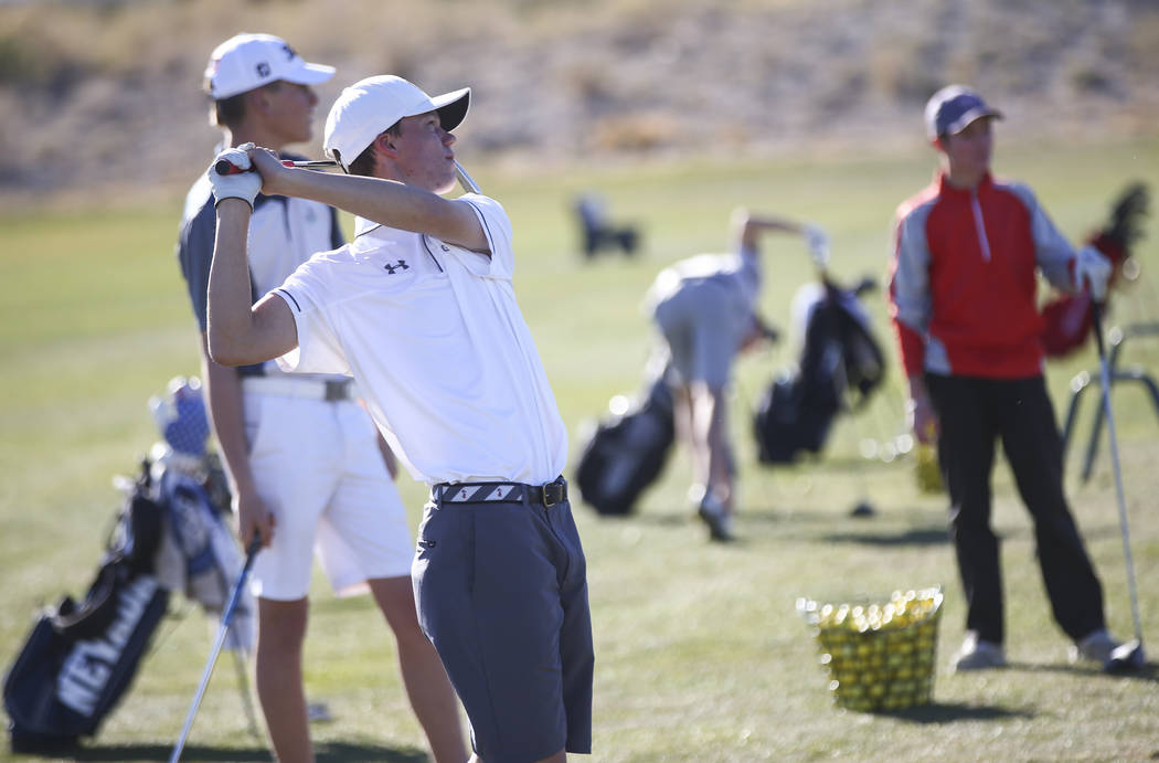 Arbor View's Hazen Newman at the driving range during practice at the Paiute Golf Reso ...
