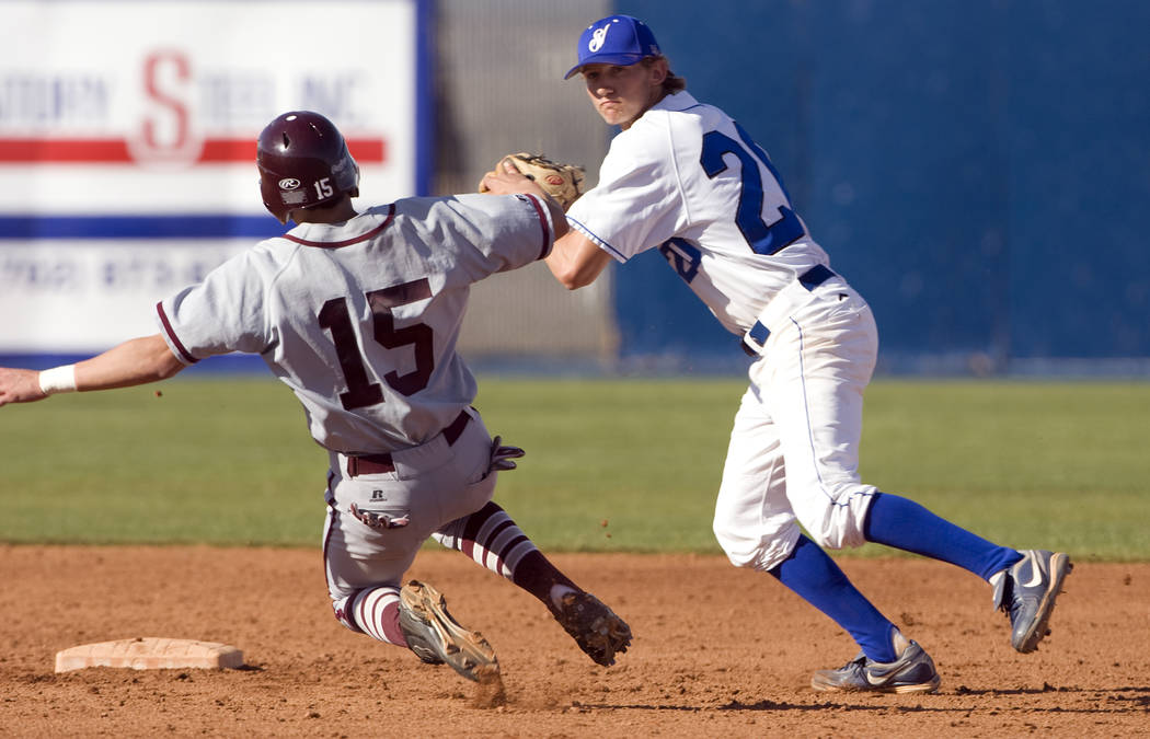 Sierra Vista shortstop Jake Hager prepares to throw to first after getting out Cimarron-Memo ...