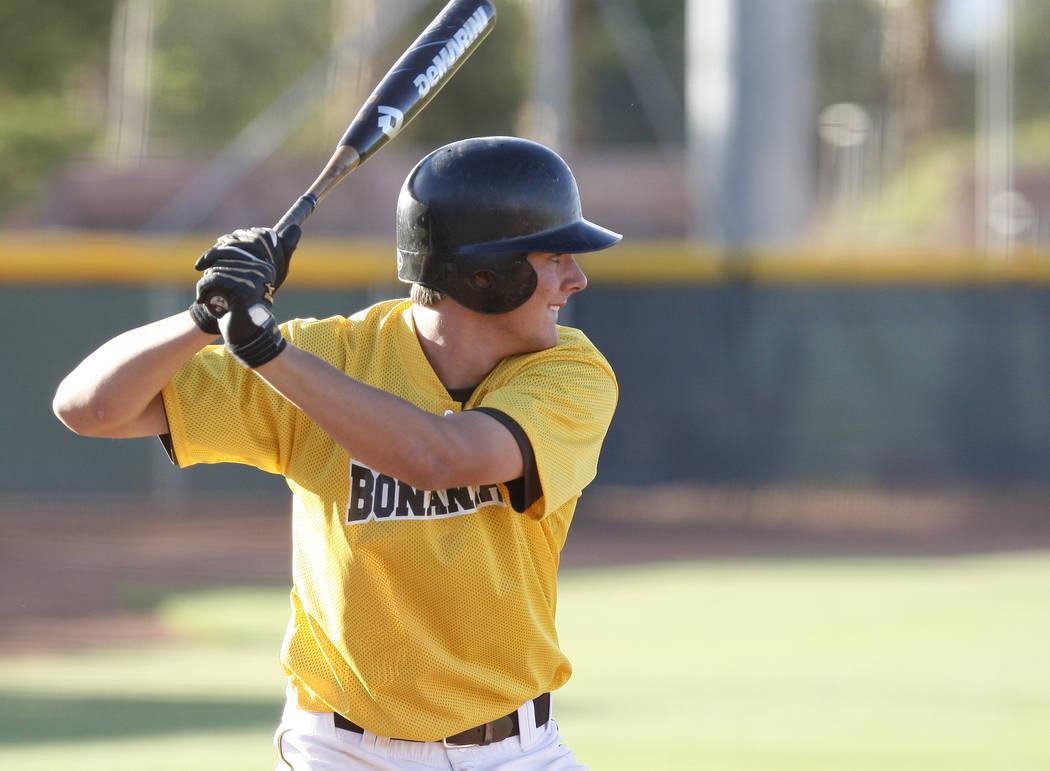 Bonanza High School baseball shortstop Kris Bryant takes an at bat with the Sunset Team duri ...