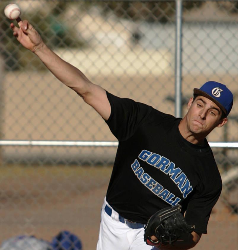 Bishop Gorman High School baseball player Donn Roach warms up in the bullpen at Paul Meyer P ...