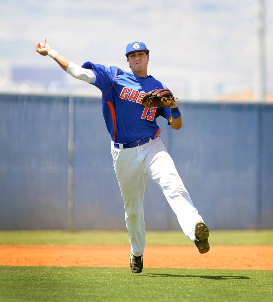 Bishop Gorman's Joey Gallo fires the ball to first base to make the out during the Sun ...