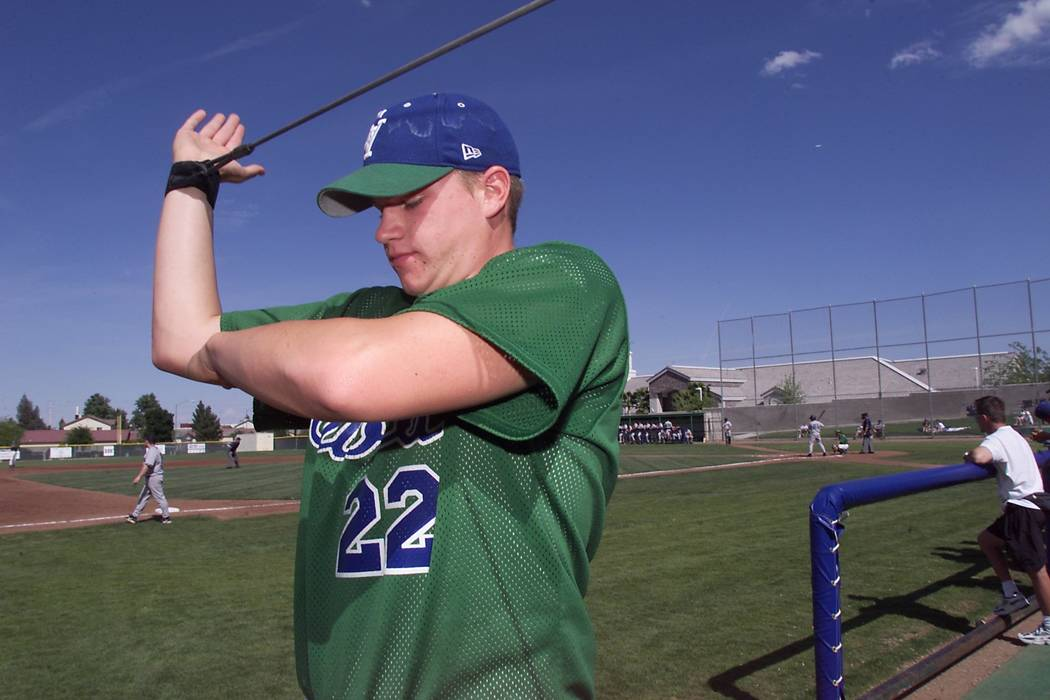 View–Green Valley pitcher Jake Dittler stretches during a game against Silverado at Gr ...